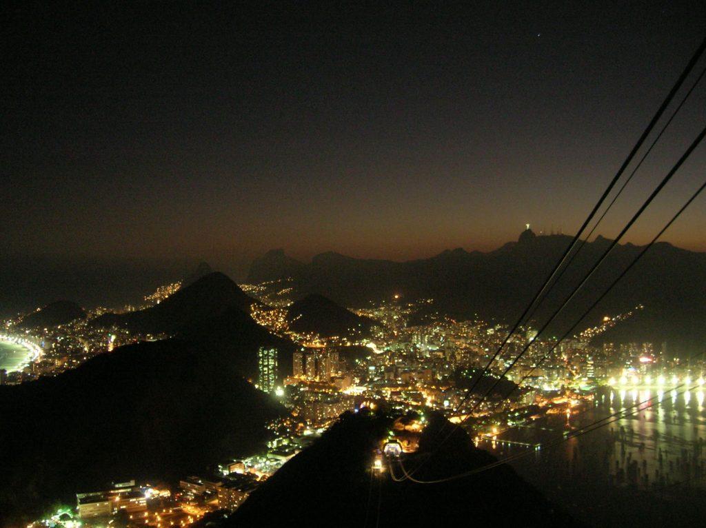 panorama dal pan di zucchero rio de janeiro notturno