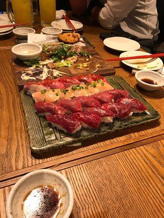 sushi di carne ad Ebisu, un vassoio completo
